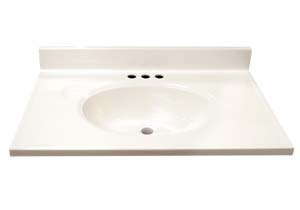 "19"" Cultured Marble Vanity Tops - Solid White"