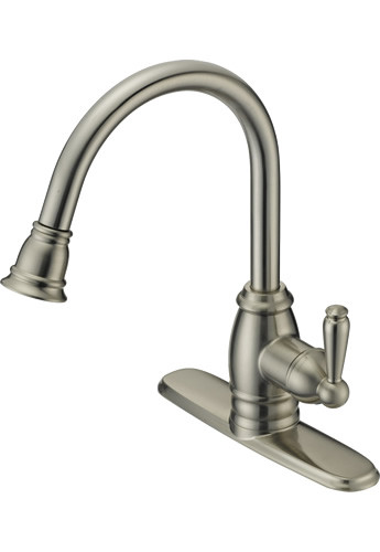 Single Handle Widespread Kitchen Faucet with Spray P32102S-15 Stainless Steel