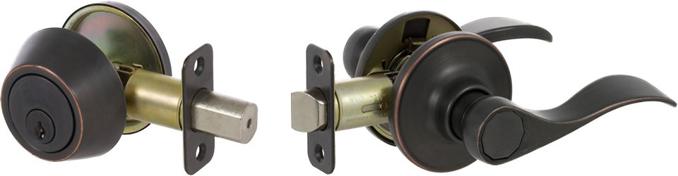 Bennett Series Lever-Style Door Handles - Edged Bronze Finish