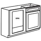 Base Blind Corner Kitchen Cabinet - Unfinished Shaker Maple UNFBBC39-42