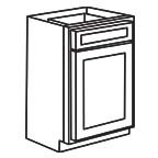 Base Cabinet 18 Inch - Unfinished Shaker Maple UNFB18