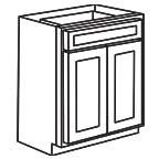 Base Cabinet 24 Inch - Unfinished Shaker Maple UNFB24
