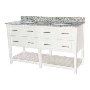 "60"" Contemporary Vanity - Sorento Style in White"
