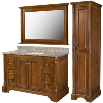 Lily Furniture Vanity with Mirror and Linen Cabinet