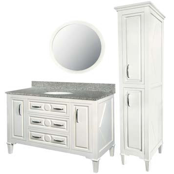 Mary Furniture Vanity with Mirror and Linen Cabinet