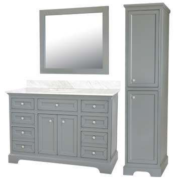 Megan Furniture Vanity with Mirror and Linen Cabinet
