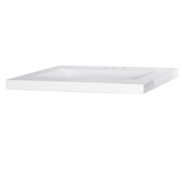 "25"" Wave Bowl Cultured Marble Vanity Top - White, 22"" Depth"