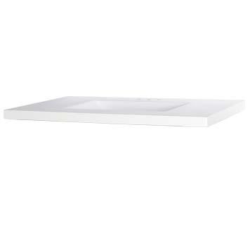 "37"" Wave Bowl Cultured Marble Vanity Top - White, 22"" Depth"