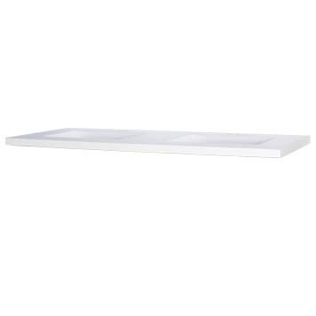 """61"""" Double Wave Bowl Cultured Marble Vanity Top - White, 22"""" Depth"""