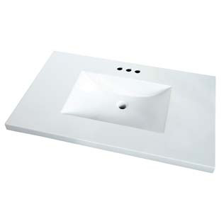 """22"""" Wave Bowl Cultured Marble Vanity Tops - White"""