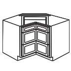 Drawer Base Corner Cabinet - Shaker Gray SGCDB36-3