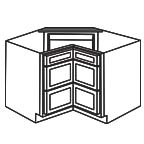Drawer Base Corner Cabinet - Shaker White SWCDB36-3