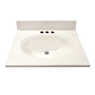 "17"" Single Bowl Cultured Marble Vanity Top - Solid White, 19"" Depth"