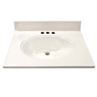 "25"" Single Bowl Cultured Marble Vanity Top - Solid White, 19"" Depth"