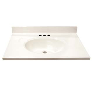 "31"" Single Bowl Cultured Marble Vanity Top - Solid White, 19"" Depth"