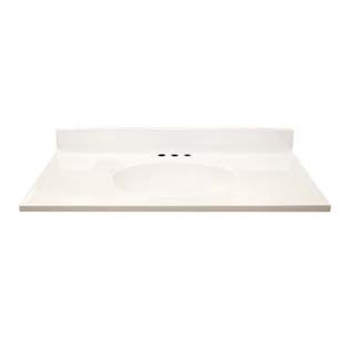 "37"" Single Bowl Cultured Marble Vanity Top - Solid White, 19"" Depth"