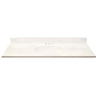 "49"" Single Bowl Cultured Marble Vanity Top - Solid White, 19"" Depth"