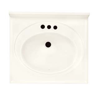 "25"" Single Bowl Cultured Marble Vanity Top - Solid White, 22"" Depth"