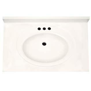 "31"" Single Bowl Cultured Marble Vanity Top - Solid White, 22"" Depth"
