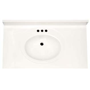"37"" Single Bowl Cultured Marble Vanity Top - Solid White, 22"" Depth"