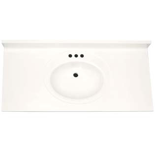 "43"" Single Bowl Cultured Marble Vanity Top - Solid White, 22"" Depth"