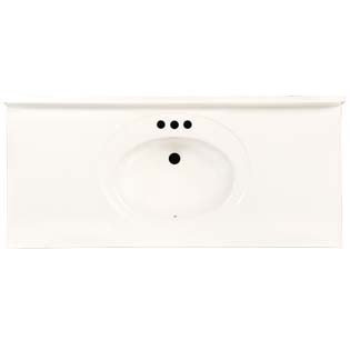 "49"" Single Bowl Cultured Marble Vanity Top - Solid White, 22"" Depth"