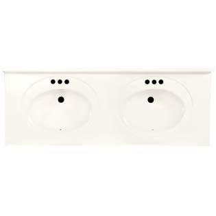 "61"" Double Bowl Cultured Marble Vanity Top - Solid White, 22"" Depth"