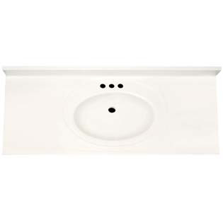 "61"" Single Bowl Cultured Marble Vanity Top - Solid White, 22"" Depth"
