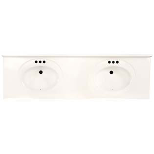 "73"" Double Bowl Cultured Marble Vanity Top - Solid White, 22"" Depth"