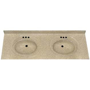 "61"" Double Bowl Cultured Marble Vanity Top - Vanilla Spice, 22"" Depth"