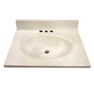 "17"" Single Bowl Cultured Marble Vanity Top - White Swirl on White, 19"" Depth"