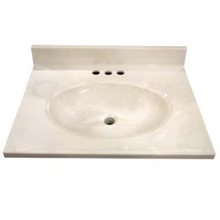 "25"" Single Bowl Cultured Marble Vanity Top - White Swirl on White, 19"" Depth"