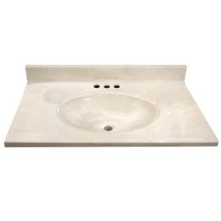 "31"" Single Bowl Cultured Marble Vanity Top - White Swirl on White, 19"" Depth"