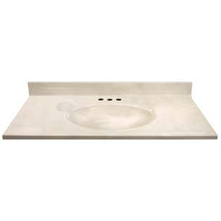 "37"" Single Bowl Cultured Marble Vanity Top - White Swirl on White, 19"" Depth"