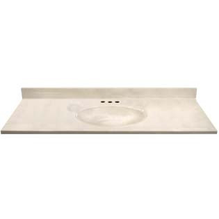 "49"" Single Bowl Cultured Marble Vanity Top - White Swirl on White, 19"" Depth"