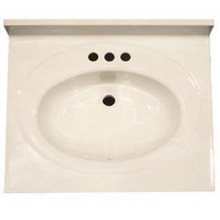 "25"" Single Bowl Cultured Marble Vanity Top - White Swirl on White, 22"" Depth"