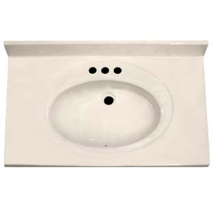"31"" Single Bowl Cultured Marble Vanity Top - White Swirl on White, 22"" Depth"