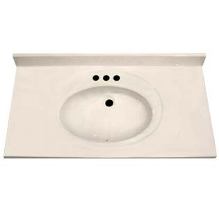 "37"" Single Bowl Cultured Marble Vanity Top - White Swirl on White, 22"" Depth"