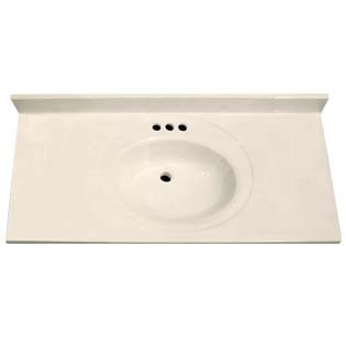 "43"" Single Bowl Cultured Marble Vanity Top - White Swirl on White, 22"" Depth"
