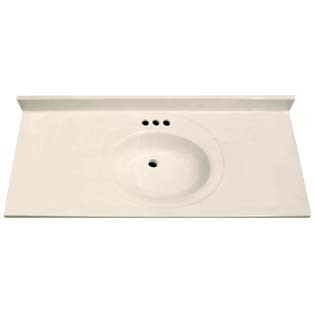 "49"" Single Bowl Cultured Marble Vanity Top - White Swirl on White, 22"" Depth"