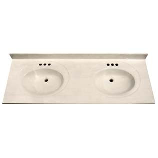 "61"" Double Bowl Cultured Marble Vanity Top - White Swirl on White, 22"" Depth"
