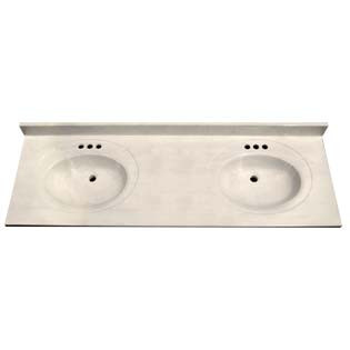 "73"" Double Bowl Cultured Marble Vanity Top - White Swirl on White, 22"" Depth"