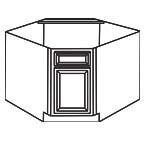 Diagonal Corner Sink Base Cabinet AWDCSB36-3 - Antique White