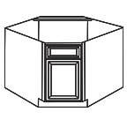 Diagonal Corner Sink Base Cabinet - Charleston Coffee Glaze CCGDCSB36