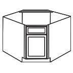 Diagonal Corner Sink Base Cabinet - Shaker Gray SGDCSB36