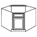 Diagonal Corner Sink Base Cabinet - Shaker White SWDCSB36