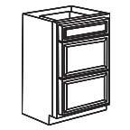 Drawer Base Cabinet 18 Inch - Charleston Coffee Glaze CCGDB18-3