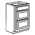 Drawer Base Cabinet 24 Inch - Shaker Espresso SEDB24-3