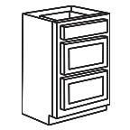 Drawer Base Cabinet 36 Inch - Shaker Espresso SEDB36-3