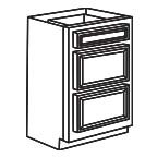 Drawer Base Cabinet 24 Inch - Savannah Sienna Glaze SSGDB24-3